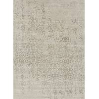 Modern abstract ivory/gray wool and art silk area rug, 'Roian' - Modern Abstract Ivory/Gray Wool and Art Silk Area Rug