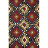 Modern tribal red wool area rug, 'Martina' - Modern Tribal Red Wool Area Rug