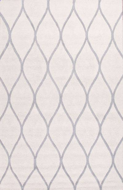 Modern geometric ivory/gray wool area rug, 'Chainlink in Cloud' - Modern Geometric Ivory/Gray Wool Area Rug