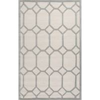 Modern geometric ivory/gray wool area rug, 'Facet' - Modern Geometric Ivory/Gray Wool Area Rug