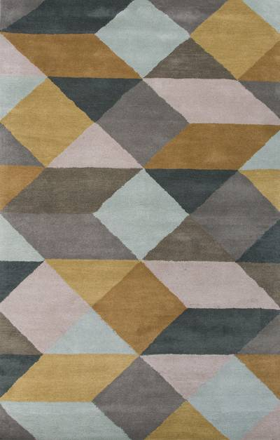 Modern geometric yellow/gray wool area rug, Mossy Ames