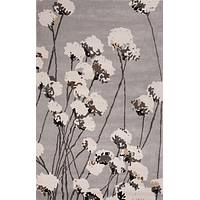 Modern floral gray/ivory wool area rug, 'Cottonseed' - Modern Floral Gray/Ivory Wool Area Rug