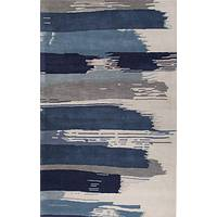 Modern floral blue/ivory wool area rug, 'Brush Stroke' - Modern Floral Blue/Ivory Wool Area Rug