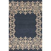 Modern tribal blue wool area rug, 'Lace Border in Navy' - Modern Tribal Blue Wool Area Rug