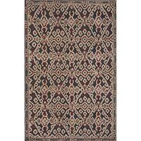 Modern tribal black wool area rug, 'Raia' - Modern Tribal Black Wool Area Rug