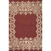 Modern tribal red wool area rug, 'Lace Border in Red' - Modern Tribal Red Wool Area Rug