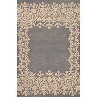 Modern tribal blue wool area rug, 'Lace Border in Gray' - Modern Tribal Blue Wool Area Rug
