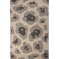 Modern animal print gray wool area rug, 'Gray Leopard' - Modern Animal Print Gray Wool Area Rug