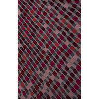 Modern geometric burgundy wool area rug, 'Magenta Migration' - Modern Geometric Purple Wool Area Rug