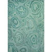 Modern abstract wool area rug, 'Turquoise Pools' - Modern Abstract Aqua Wool Area Rug
