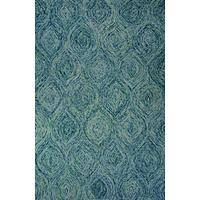 Modern abstract wool area rug, 'Bluebird Song' - Modern Abstract Blue Wool Area Rug