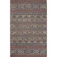 Modern tribal gray wool area rug, 'Fair Isle Gray' - Modern Tribal Gray Wool Area Rug