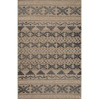 Modern tribal gray wool area rug, 'Fair Isle Cream' - Modern Tribal Gray Wool Area Rug