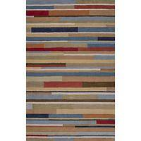 Modern geometric blue/red wool area rug, 'Larson' - Modern Geometric Blue/Red Wool Area Rug