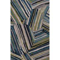 Modern geometric blue wool area rug, 'Mabry' - Modern Geometric Blue Wool Area Rug