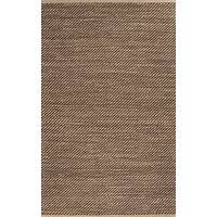 Jute and rayon area rug, 'Paceo' - Naturals Solid Brown/Buff Jute and Rayon Area Rug