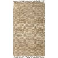 Solid taupe/tan  jute area rug, 'Julia' - Natural Tone Solid Taupe/Tan Jute Area Rug from India