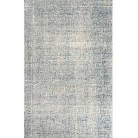 Solid ivory/blue wool area rug, 'Denim' - Solid Ivory/Blue Wool Area Rug