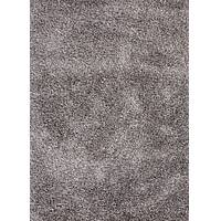 Shag solid gray/ivory wool and polyester area rug, 'Ama' - Shag Solid Gray/Ivory Wool and Polyester Area Rug
