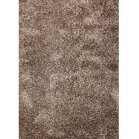 Shag solid ivory/brown wool and polyester area rug, 'Davida' - Shag Solid Ivory/Brown Wool and Polyester Area Rug
