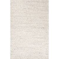 Textured tone-on-tone ivory/gray wool area rug, 'Vyssa' - Textured Tone-on-tone Ivory/Gray Wool Area Rug