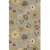 Transitional floral wool blend area rug, 'Misty Floral' - Transitional Floral Earthtone Wool Blend Area Rug