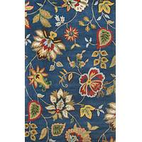 Transitional floral blue/multi wool area rug, 'Ocean Medley' - Transitional Floral Blue/Multi Wool Area Rug