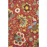 Transitional floral red/blue wool area rug, 'Warm Medley' - Transitional Floral Coral Red/Multi Wool Area Rug