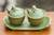 Ceramic condiment set, 'Coriander Frogs' - Green Ceramic Condiment Set with Self-Tray and Spoons (image 2) thumbail