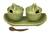 Ceramic condiment set, 'Coriander Frogs' - Green Ceramic Condiment Set with Self-Tray and Spoons thumbail