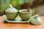 Ceramic condiment set, 'Coriander Frogs' - Green Ceramic Condiment Set with Self-Tray and Spoons (image 2b) thumbail