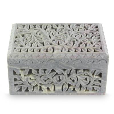 Soapstone jewelry box, 'Honeysuckle' - Handcarved Indian Artisan Jewelry Box
