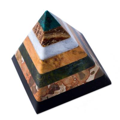 Gemstone pyramid, 'Be Positive' - Gemstone pyramid