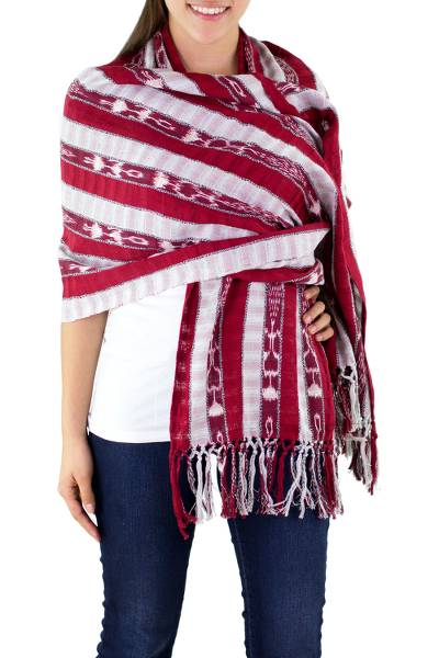 Cotton shawl, 'Tradition' - Handwoven Shawl from Guatemalan Womens Collective