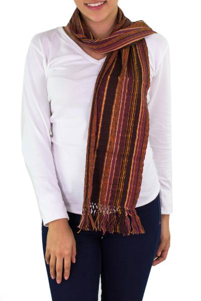 Cotton scarf, 'Maya Chocolate Shimmer' - Handwoven Scarf by Guatemalan Womens Collective