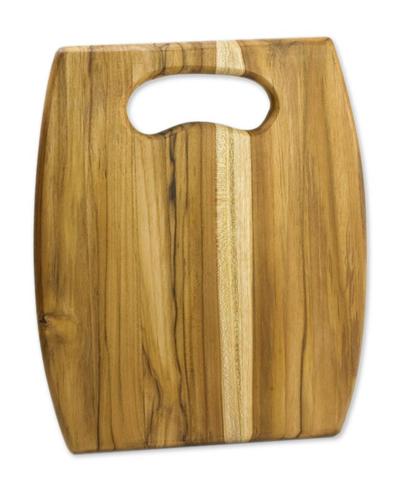 Teakwood cutting board, 'Barrel' - Artisan Wood Cutting Board with Cutout Handle