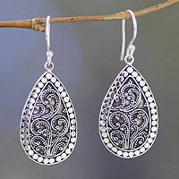 Sterling silver flower earrings, 'Denpasar Mystique' - Long Sterling Silver Indonesian Dangle Earrings