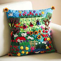 Applique cushion cover, 'Spring Fun' - Artisan Hand Embroidered Applique Cushion Cover
