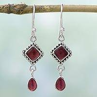 Garnet dangle earrings, 'Fire of Love' - Sterling Silver and Deep Red Garnet Artisan Dangle Earrings