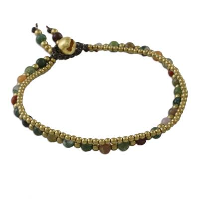 Jasper beaded bracelet, 'Dazzling Green Red Harmony' - Jasper and Brass Beads Double Strand Bracelet