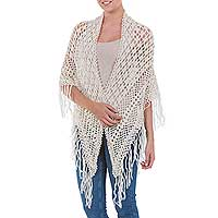 100% alpaca shawl, 'Amazon Ivory' - Vintage Inspired Shawl Elegant All Seasons Womens Wrap