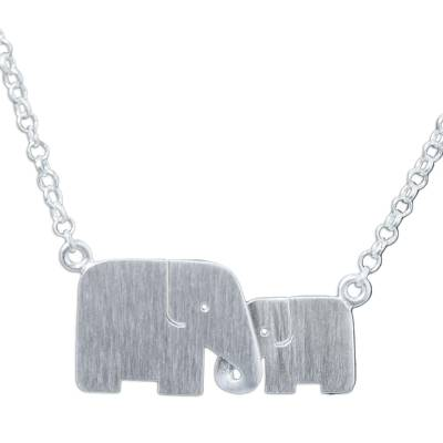 Sterling silver pendant necklace, 'Family Love' - Unique Artisan Necklace - Loving Elephant Jewelry