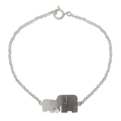 Sterling silver bracelet, 'Family Love' - Unique Artisan Bracelet - Loving Elephant Jewelry