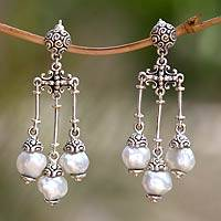 Cultured pearl chandelier earrings, 'Trinity in White' - Sterling Silver with Cultured Pearls Chandelier Earrings