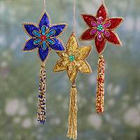 Beaded ornaments, 'Poinsettia' (set of 3)