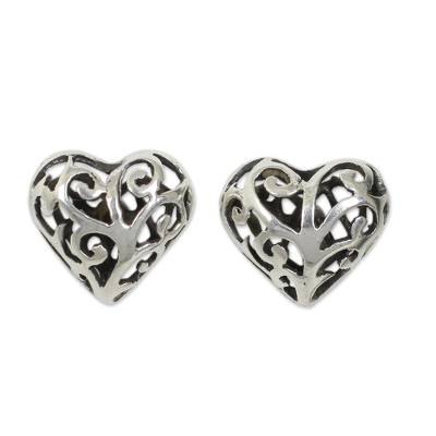 Sterling silver heart earrings, 'Filigree Love' - Sterling Silver Heart Openwork Stud Earrings