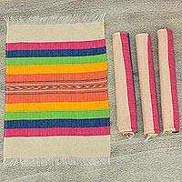 Zapotec cotton placements, 'Fiesta Hues' (set of 4) - Handwoven Placements in Multicolour Stripes