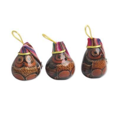 Dried mate gourd ornaments, 'Holiday Owls' (set of 3) - Christmas Ornaments