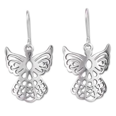 Sterling silver dangle earrings, 'Cajamarca Angels' - Sterling Silver Openwork Design Dangle Earrings