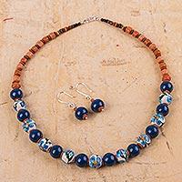 Ceramic flower jewelry set, 'Precious Blue' - Womens Hand-painted Artisan Blue Flower Ceramic Jewelry Set
